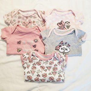 Betsey Johnson 3 Month Old Baby Bodysuits Pink Gra